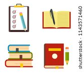 homework study school icons set.... | Shutterstock .eps vector #1143571460