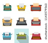 typewriter machine keys old... | Shutterstock .eps vector #1143579563