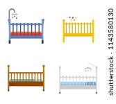baby crib cradle bed icons set. ... | Shutterstock .eps vector #1143580130
