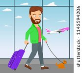 young man with luggage and dog...   Shutterstock .eps vector #1143594206
