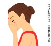 depressed young woman crying... | Shutterstock .eps vector #1143594233