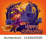 witch banner for halloween | Shutterstock .eps vector #1143635030