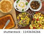 overhead view of six dish... | Shutterstock . vector #1143636266