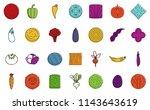 vegetables icon set. color... | Shutterstock . vector #1143643619