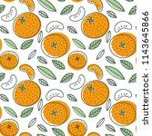 mandarin seamless pattern.... | Shutterstock .eps vector #1143645866