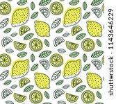 lemon seamless pattern. hand... | Shutterstock .eps vector #1143646229