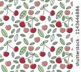cherry seamless pattern. hand...   Shutterstock .eps vector #1143646886