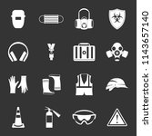 safety icons set white isolated ... | Shutterstock . vector #1143657140