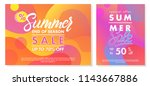 summer sale banners with bright ... | Shutterstock .eps vector #1143667886