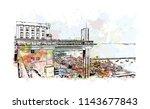 landmark and building view of... | Shutterstock .eps vector #1143677843