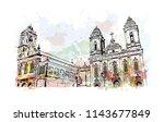 landmark and building view of... | Shutterstock .eps vector #1143677849