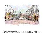 landmark and building view of...   Shutterstock .eps vector #1143677870