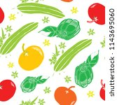 salad veggie seamless repeating ... | Shutterstock .eps vector #1143695060