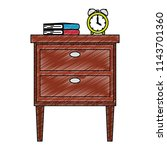 wooden drawer with books and...   Shutterstock .eps vector #1143701360