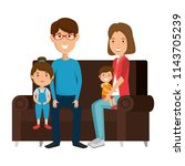 parents couple with daughter... | Shutterstock .eps vector #1143705239