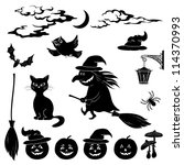halloween cartoon  set black... | Shutterstock . vector #114370993