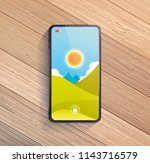 smart phone on wooden table.... | Shutterstock .eps vector #1143716579
