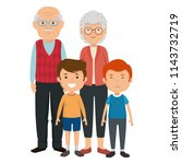 cute grandparents couple with... | Shutterstock .eps vector #1143732719