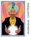 a fortune teller looks into a... | Shutterstock .eps vector #1143735326
