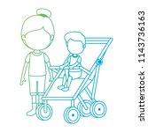 baby boy in cart with sister | Shutterstock .eps vector #1143736163