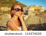 beautiful woman travelling | Shutterstock . vector #114374020