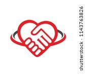 shake hands in love shape logo... | Shutterstock .eps vector #1143763826