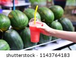 Red Cut Watermelon Selling At...