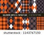 halloween argyle and tartan... | Shutterstock .eps vector #1143767150