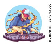 cool disc jockey with headphone ... | Shutterstock .eps vector #1143768080
