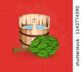 bathing goods. a wooden barrel...   Shutterstock .eps vector #1143774590