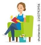 a woman wearing a blue apron... | Shutterstock .eps vector #1143792956