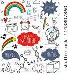 set back to school doodles on... | Shutterstock .eps vector #1143807860