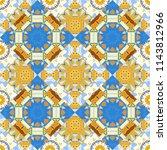 curved doodling in blue  orange ... | Shutterstock .eps vector #1143812966
