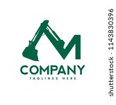 creative letter m as excavators ... | Shutterstock .eps vector #1143830396