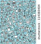 big doodle icons set  ... | Shutterstock .eps vector #114383404