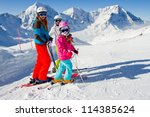skiing  winter   skiers on... | Shutterstock . vector #114385624