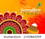 happy janmashtami design...   Shutterstock .eps vector #1143864209
