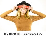 woman in hat showing tag with... | Shutterstock . vector #1143871670