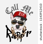 funny dog in rapper costume... | Shutterstock .eps vector #1143912410