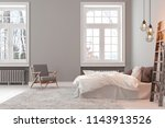 scandinavin loft gray empty... | Shutterstock . vector #1143913526
