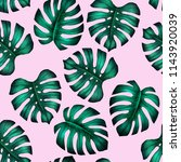 monstera seamless pattern.... | Shutterstock . vector #1143920039
