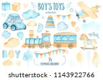 watercolor boys toys baby... | Shutterstock . vector #1143922766