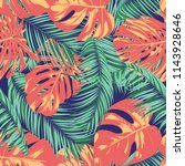 summer exotic floral tropical... | Shutterstock .eps vector #1143928646