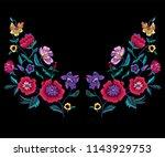 embroidery neckline pattern... | Shutterstock .eps vector #1143929753