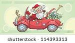 santa claus is driving a car... | Shutterstock .eps vector #114393313