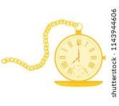 golden pocket watch with chain. ...   Shutterstock .eps vector #1143944606