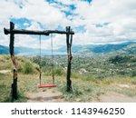 wooden swing atraction in bur... | Shutterstock . vector #1143946250
