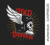speed demon. skull in winged... | Shutterstock . vector #1143958133