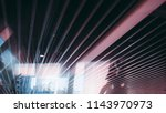 office ceiling with striped...   Shutterstock . vector #1143970973