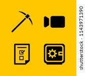 web icon set with pickaxe ...